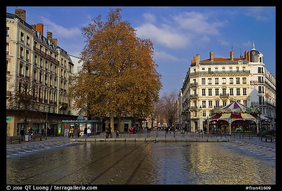 Basin and pedestrian area. Lyon, France