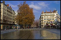 Basin and pedestrian area. Lyon, France ( color)