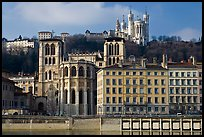 Cathedrale St Jean, Basilique Notre Dame de Fourviere. Lyon, France (color)