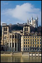 Saint Jean Cathedral and Notre Dame of Fourviere basilica. Lyon, France