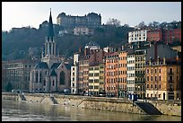 Saint George church and houses on the banks of the Saone River. Lyon, France (color)