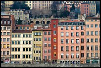 Painted houses on banks of the Saone River. Lyon, France