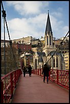 Walking across the passerelle Saint-Georges. Lyon, France (color)