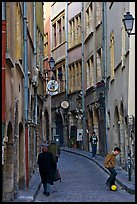 Narrow street in old city. Lyon, France