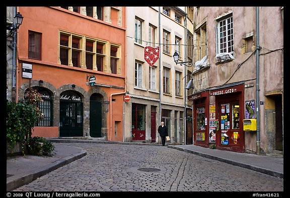 Small square in old city with coblestone pavement. Lyon, France
