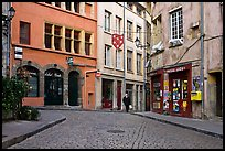 Small square in old city with coblestone pavement. Lyon, France (color)