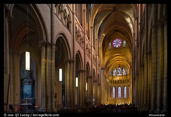 Nave of Saint Jean Cathedral. Lyon, France (color)