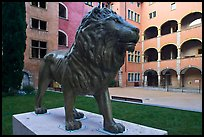 Lion sculpture, Maison des Avocats, historic district. Lyon, France