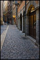 Cobblestone pavement on historic distric street. Lyon, France
