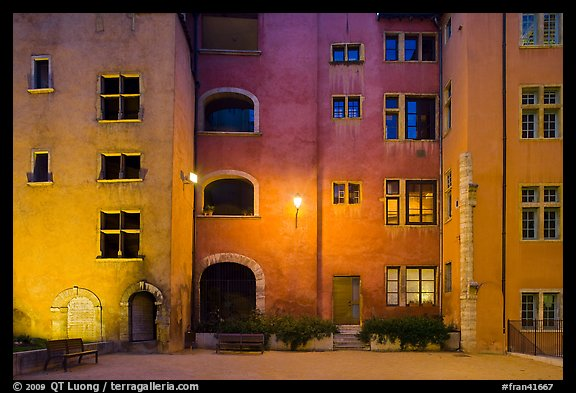 Maison des Avocats facade at night with lights. Lyon, France (color)