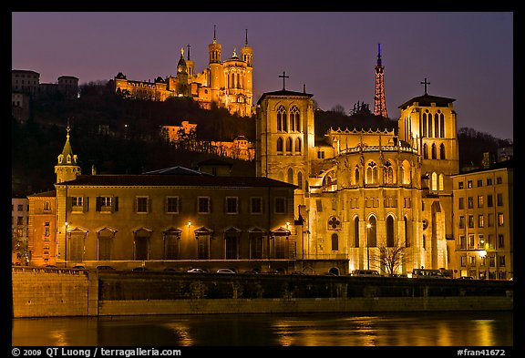 Saint Jean Cathedral and Notre Dame of Fourviere basilica at night. Lyon, France (color)