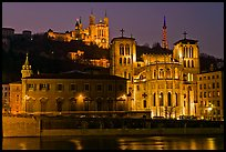 Saint Jean Cathedral and Notre Dame of Fourviere basilica at night. Lyon, France