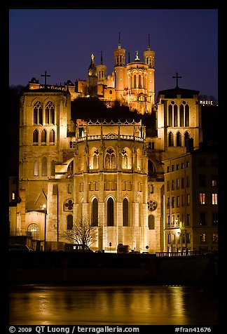 Cathedrale St Jean, Basilique Notre Dame de Fourviere by night. Lyon, France (color)