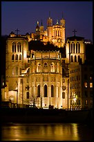 Cathedrale St Jean, Basilique Notre Dame de Fourviere by night. Lyon, France