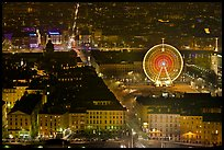 Bellecour square with Ferris wheel at night, seen from above. Lyon, France