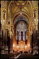 Inside Notre-Dame de Fourviere Basilique, decorated with frescos. Lyon, France