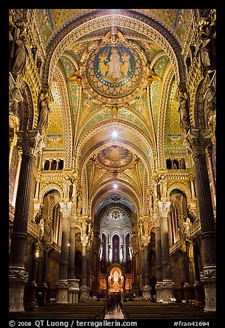 Heavily decorated dome of  Notre Dame of Fourviere basilic. Lyon, France (color)