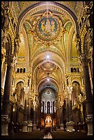 Heavily decorated dome of  Notre Dame of Fourviere basilic. Lyon, France