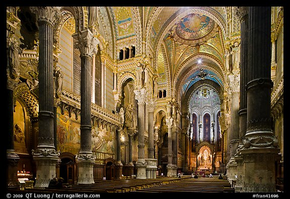 Interior of Basilica Notre-Dame of Fourviere designed by Pierre Bossan. Lyon, France (color)
