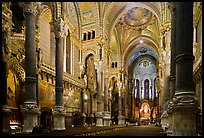 Interior of Basilica Notre-Dame of Fourviere designed by Pierre Bossan. Lyon, France
