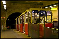 Funiculaire of  Notre-Dame of Fourviere hill, upper station. Lyon, France