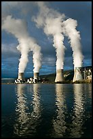 Smoke Emitting From Cooling Towers, Cruas Nuclear Power Station. Provence, France (color)