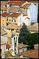 Townhouses with red tile rooftops, Orange. Provence, France (color)