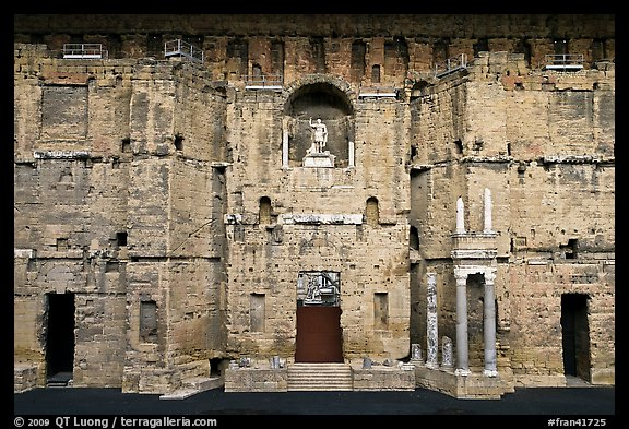 Stage wall of the Roman theater, the only such structure still standing entirely, Orange. Provence, France (color)
