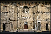 Stage wall of the Roman theater, the only such structure still standing entirely, Orange. Provence, France