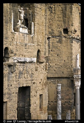 Detail of the stage wall of the Roman theatre, Orange. Provence, France