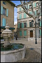 Fountain and town square, Orange. Provence, France ( color)