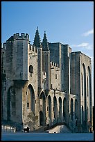 Massive walls of the Palace of the Popes. Avignon, Provence, France