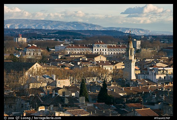 View over town and Alpilles mountains. Avignon, Provence, France (color)