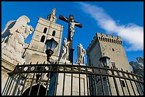 Crucifix in front of Notre-Dame-des-Doms Cathedral. Avignon, Provence, France ( color)