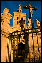 Cross in front of Notre-Dame-des-Doms Cathedral. Avignon, Provence, France ( color)