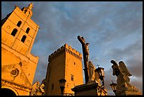 Towers and statues at sunset. Avignon, Provence, France