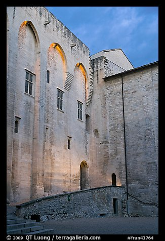 Wall of honnor courtyard. Avignon, Provence, France (color)
