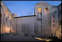Honnor Courtyard at dusk, Papal Palace. Avignon, Provence, France