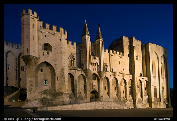 Gothic facade of Papal Palace at night. Avignon, Provence, France (color)