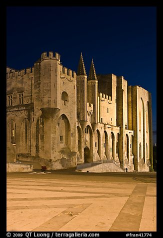 Palace square and Palais des Papes at night. Avignon, Provence, France (color)