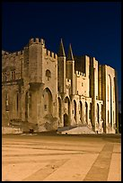 Palace square and Palais des Papes at night. Avignon, Provence, France
