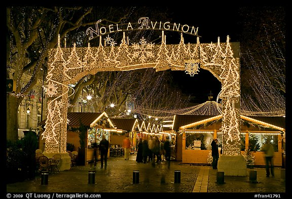 Christmas fair at night. Avignon, Provence, France (color)