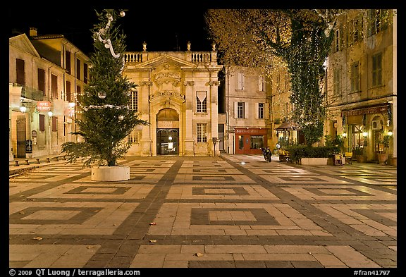 Place Crillion at night. Avignon, Provence, France