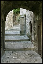 Arch and paved stairs, Les Baux-de-Provence. Provence, France