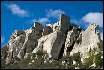 Rocky outcrop and ruined castle, Les Baux-de-Provence. Provence, France (color)