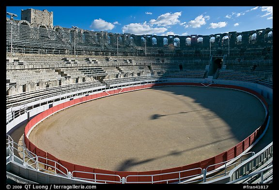 Inside the Roman amphitheater. Arles, Provence, France