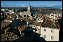 View of the city center with Rhone River. Arles, Provence, France