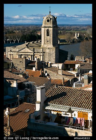 Church and rooftops. Arles, Provence, France (color)
