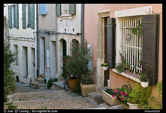 Facades of painted houses. Arles, Provence, France (color)
