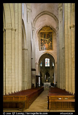 Interior nave of St Trophime church. Arles, Provence, France (color)
